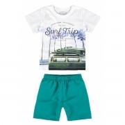 Conjunto Masculino Infantil Branco Surf Trip Malwee