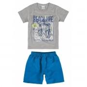 Conjunto Masculino Infantil Cinza Mescla Beach Life Malwee