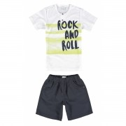 Conjunto Masculino Infantil Branco Rock And Roll Malwee