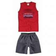 Conjunto Masculino Infantil Vermelha California Malwee