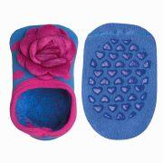 Meia Infantil Antiderrapante Azul Rosa Lupo