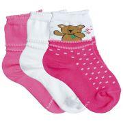 Meia Infantil Feminina Kit 3 meias 943 Lupo