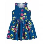 Vestido Infantil Azul Floral Malwee
