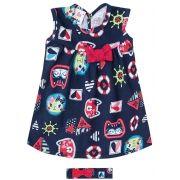 Vestido Infantil Azul Marinho Gatinhos e Faixa Zig Zig Zaa