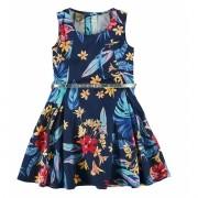 Vestido Infantil Azul Marinho Tropical Carinhoso