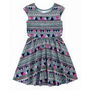 Vestido Infantil Azul Etnico Malwee
