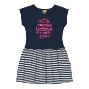 Vestido Infantil Azul Marinho Believe Bee Loop