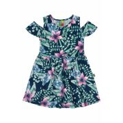 Vestido Infantil Azul Marinho Flores Bee Loop