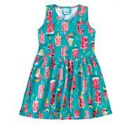Vestido Infantil Azul Sorvetes Malwee