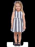 Vestido Infantil Branco Geomêtrico Milon