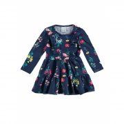 Vestido Infantil Inverno Azul Marinho Florzinhas Malwee