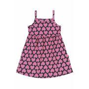 Vestido Infantil Preto Corações Bee Loop