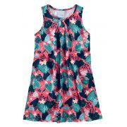 Vestido Infantil Rosa Folhas Malwee