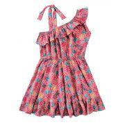Vestido Infantil Rosa Tropical Malwee