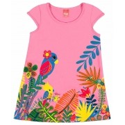Vestido Infantil Rosa Fauna e Flora Elian