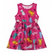 Vestido Infantil Rosa Gatinhos Elian