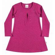 Vestido Infantil Inverno Rosa Strass Elian