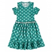 Vestido Infantil Verde Água Pétala Malwee
