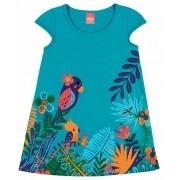 Vestido Infantil Verde Fauna e Flora Elian