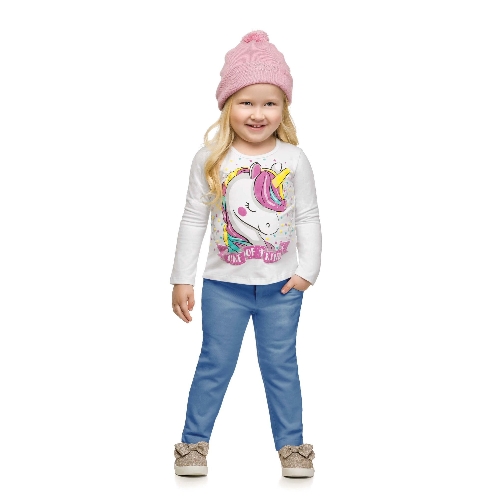 Blusa Feminina Infantil Inverno Branca Unicórnio Elian