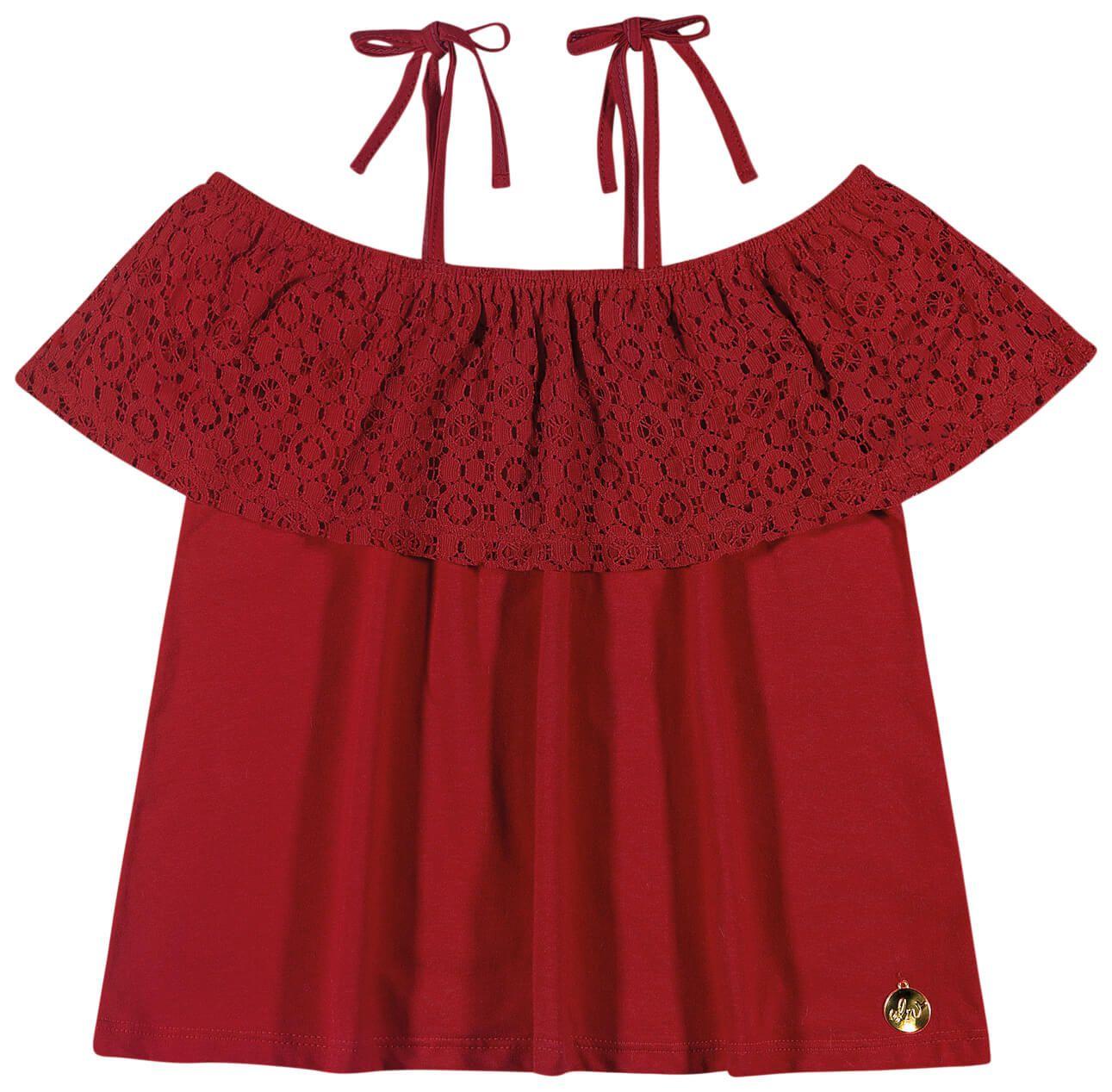 Blusa Infantil Feminina Vermelha Renda Elian