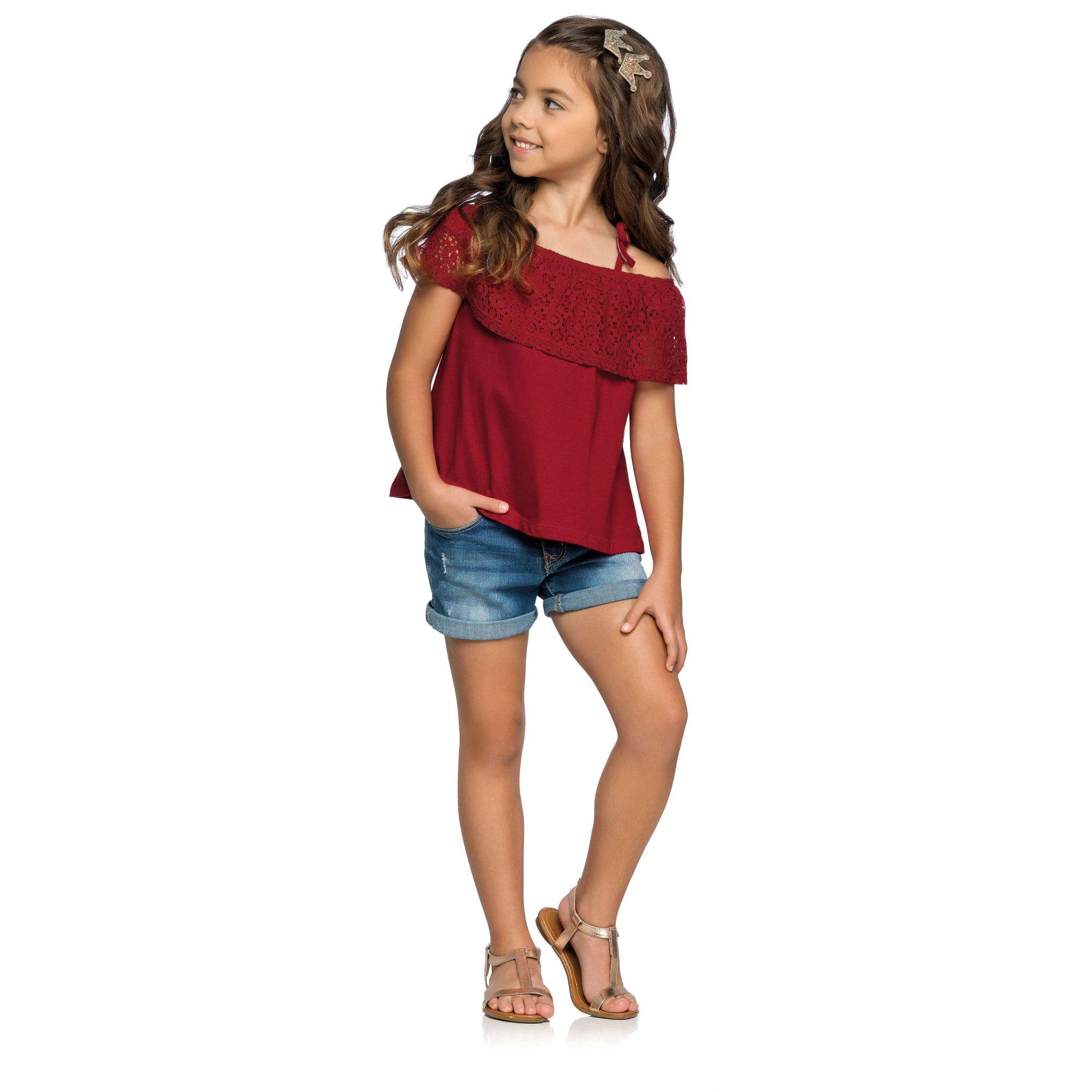 Blusa Infantil Vermelha Renda Elian