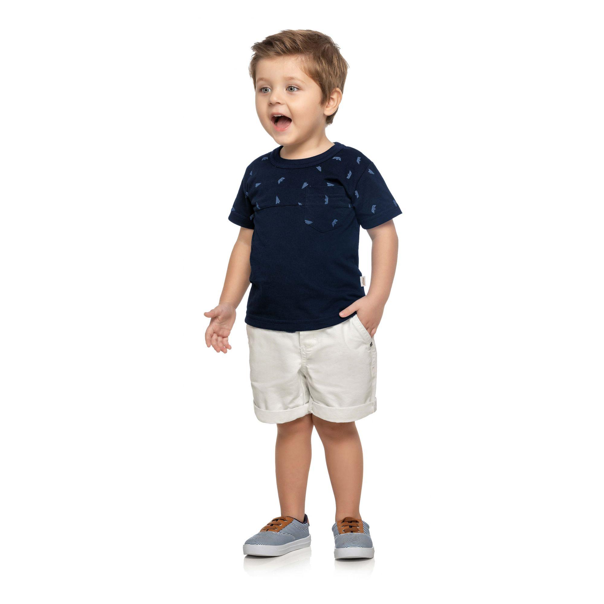 Camiseta Infantil Marinho Aviões Elian