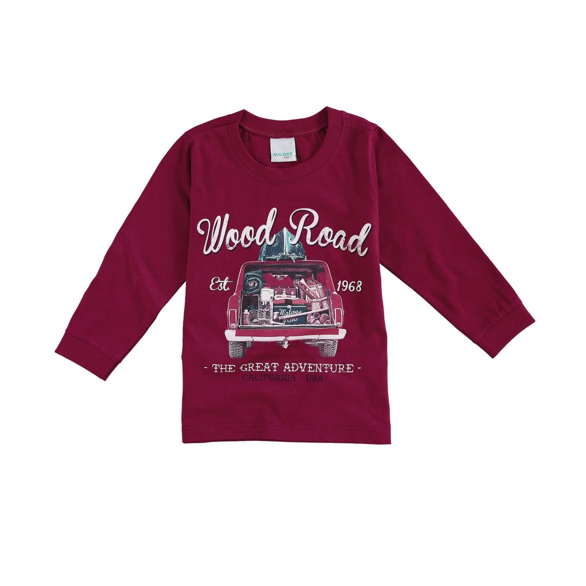 ef489f16f Camiseta Infantil Masculina Inverno Bordô Wood Road Malwee
