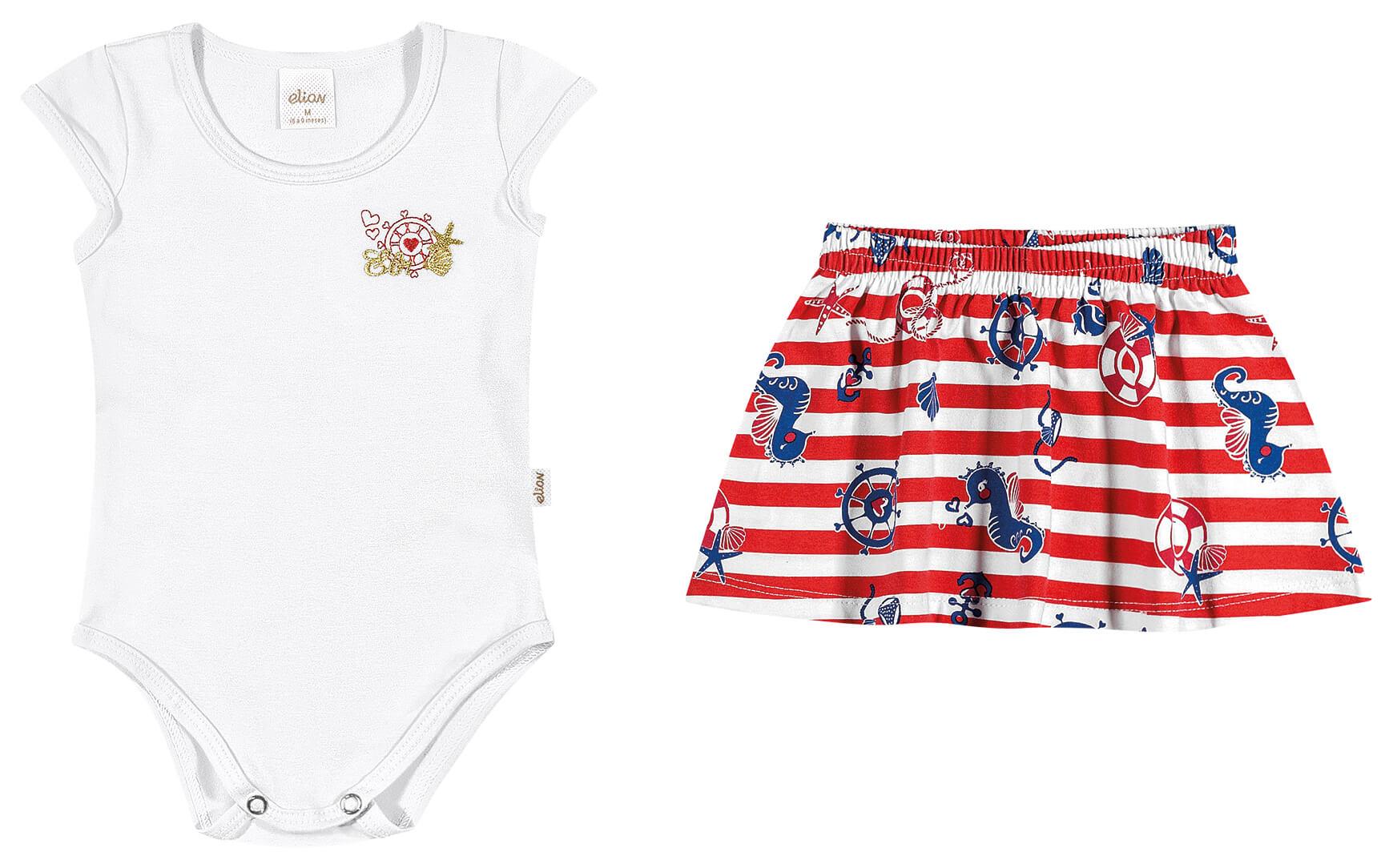 Conjunto Feminino Infantil Branco Navy Elian
