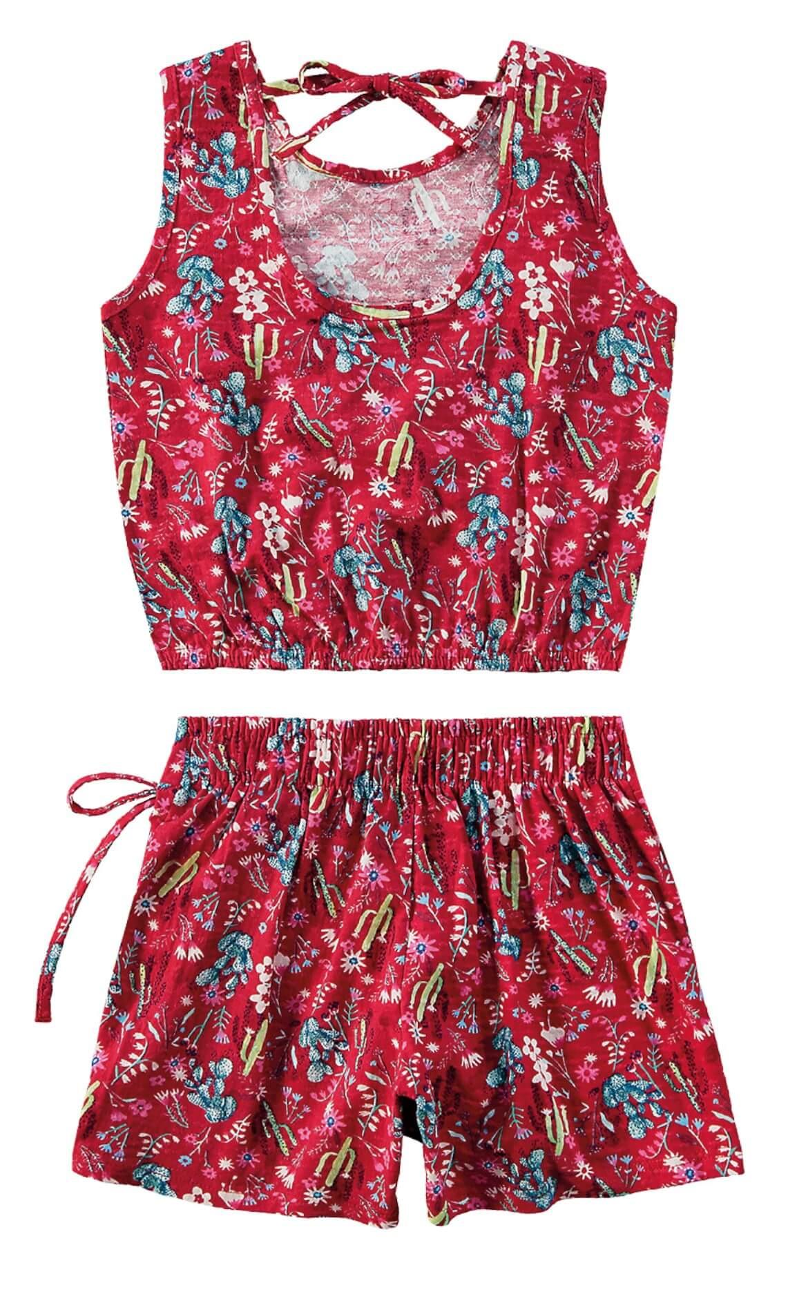 Conjunto Feminino Infantil Rosa Cactus Malwee