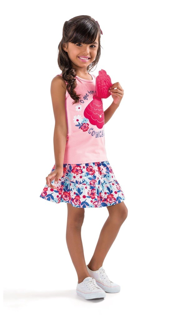 Conjunto Feminino Infantil Rosa Concha Zig Zig Zaa