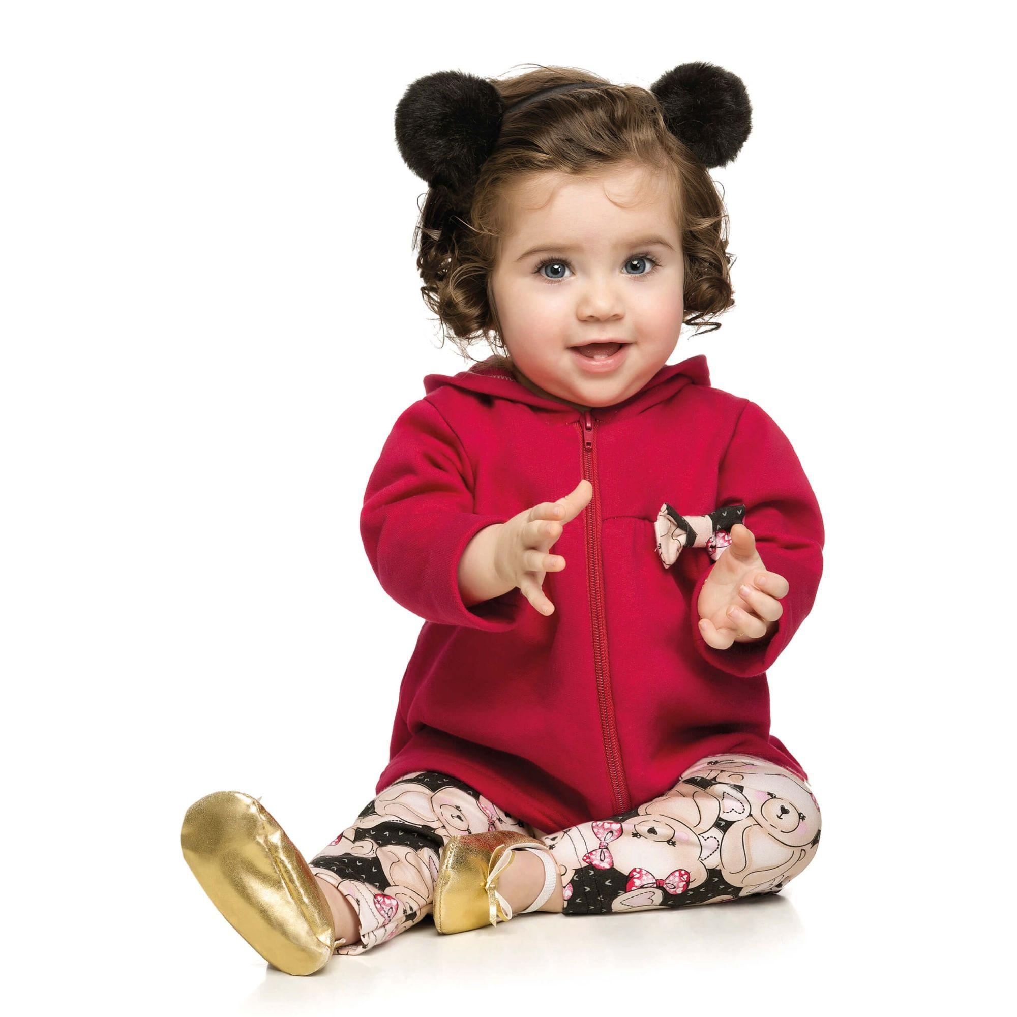 Conjunto Feminino Infantil Inverno Vermelho Ursinhos Elian