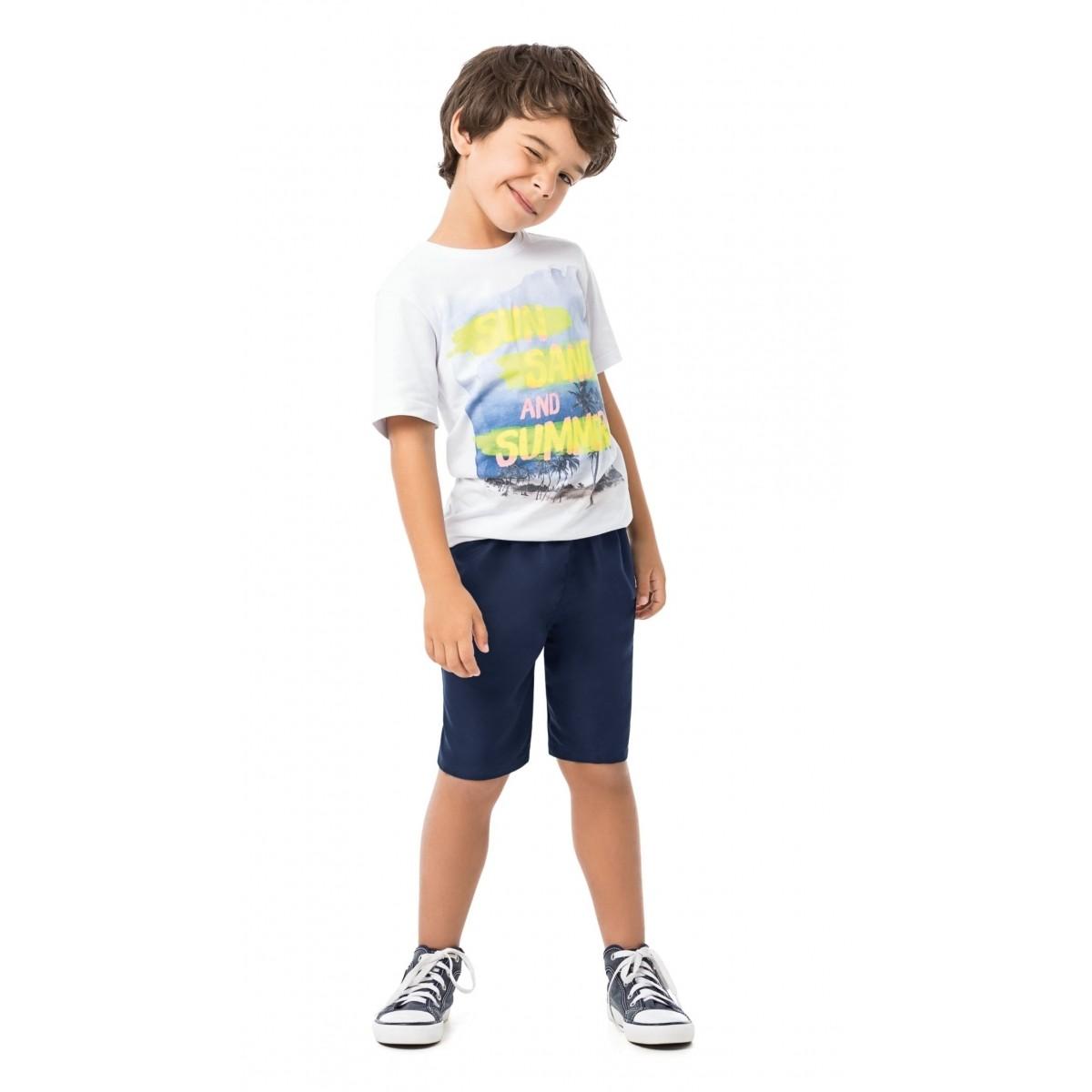 Conjunto Infantil Masculino Branco Sun Sand and Summer Malwee