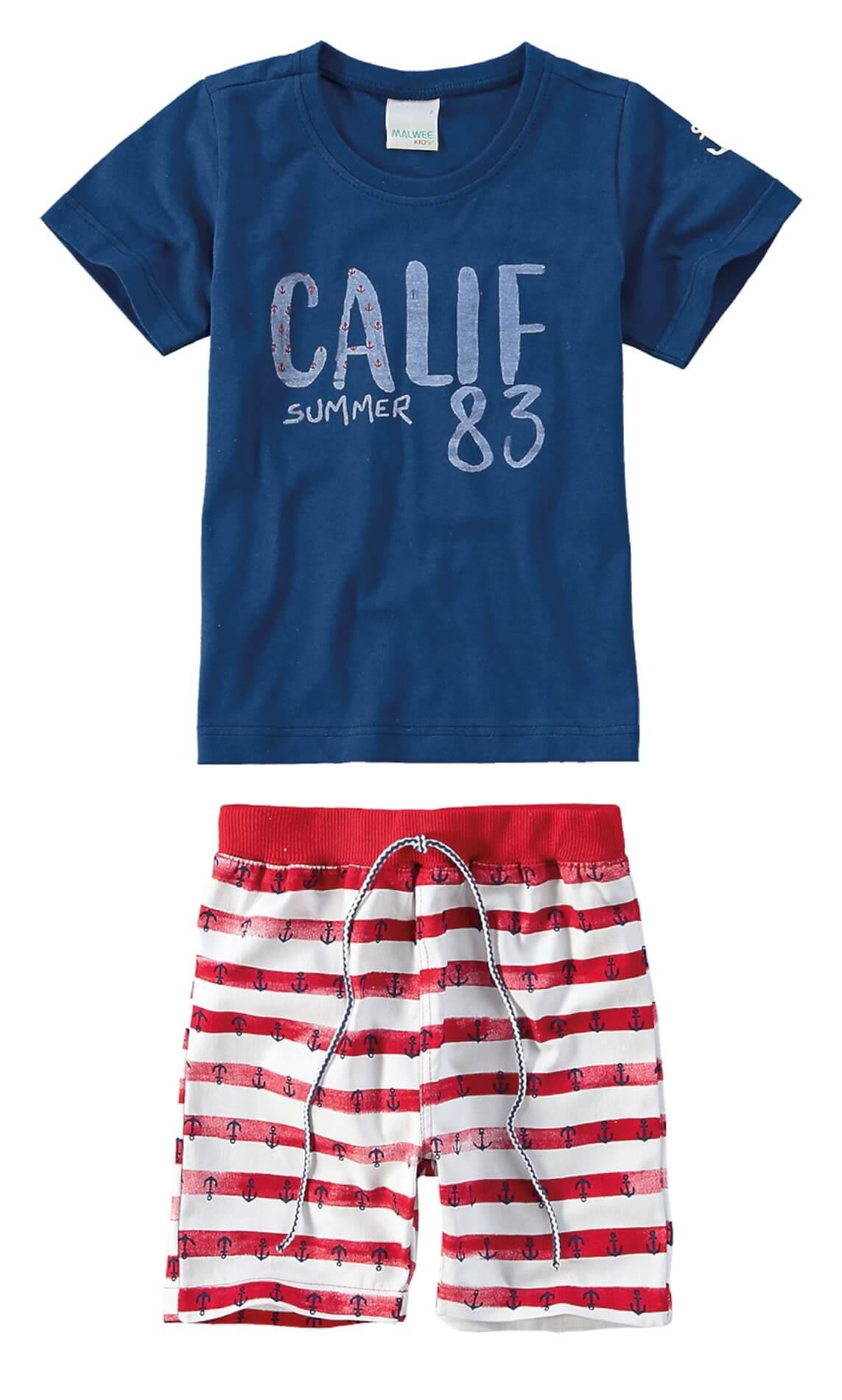 c26a4a205 Conjunto Infantil Masculino Azul Marinho Verão Malwee