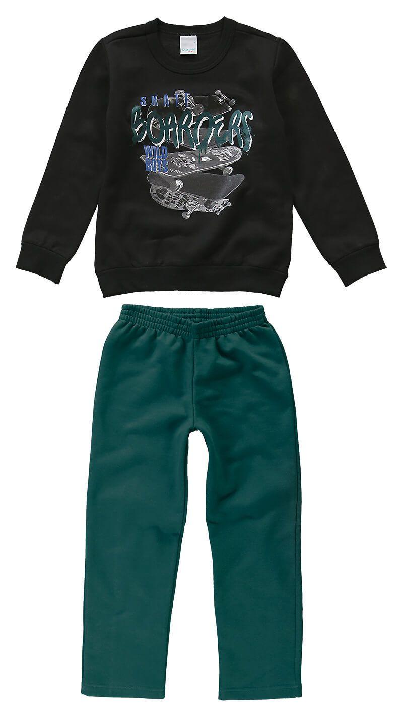 d60ec8bc2 Conjunto Infantil Masculino Inverno Preto Skate Malwee