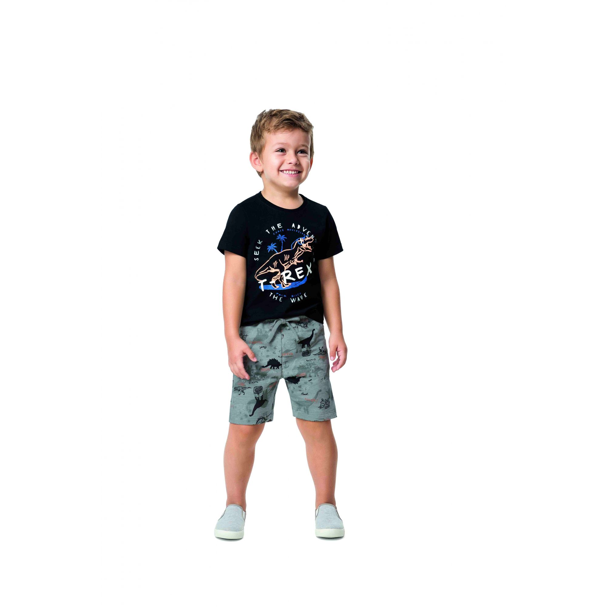 Conjunto Masculino Infantil Preto T-Rex Malwee