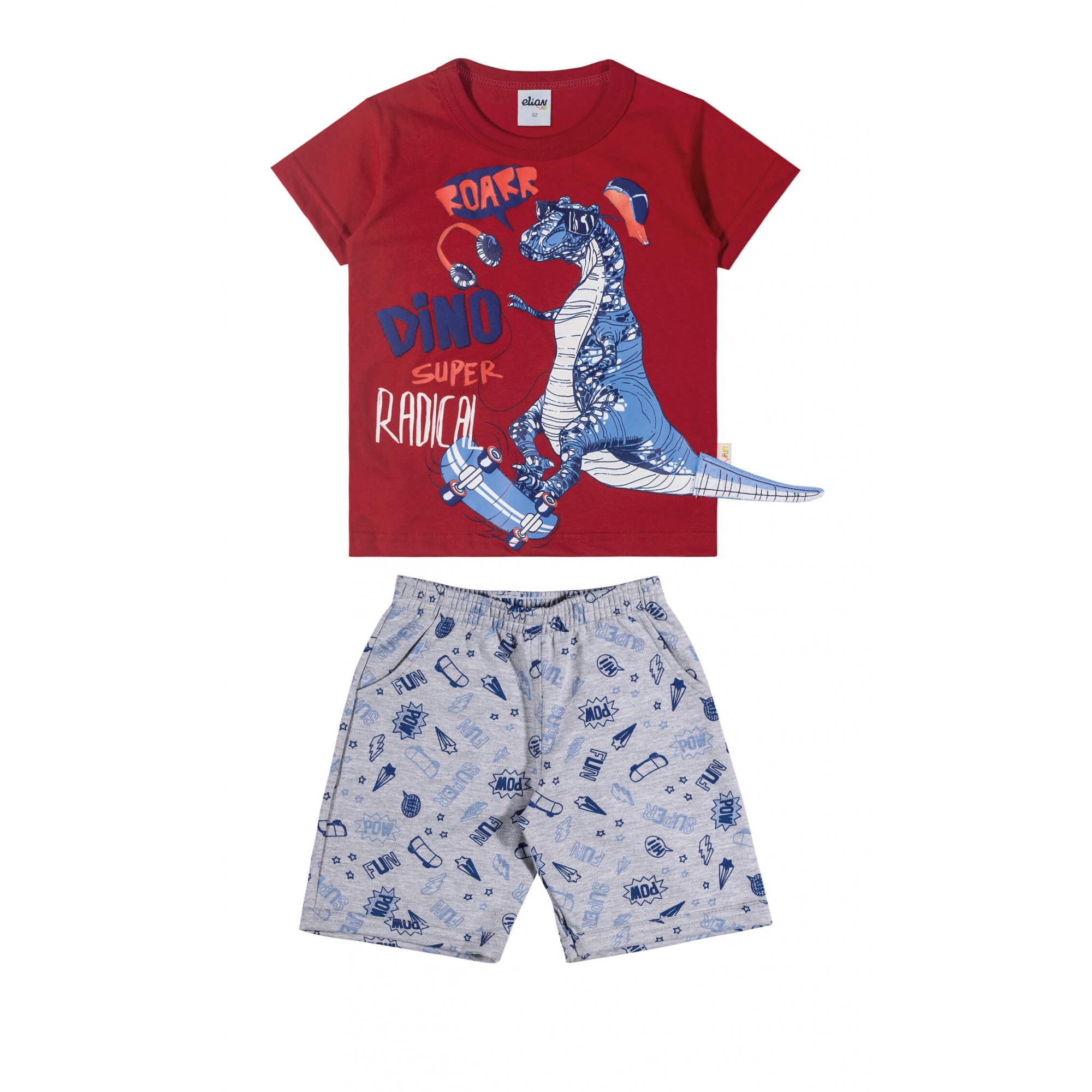 Conjunto Infantil Masculino Vermelho Dino Elian