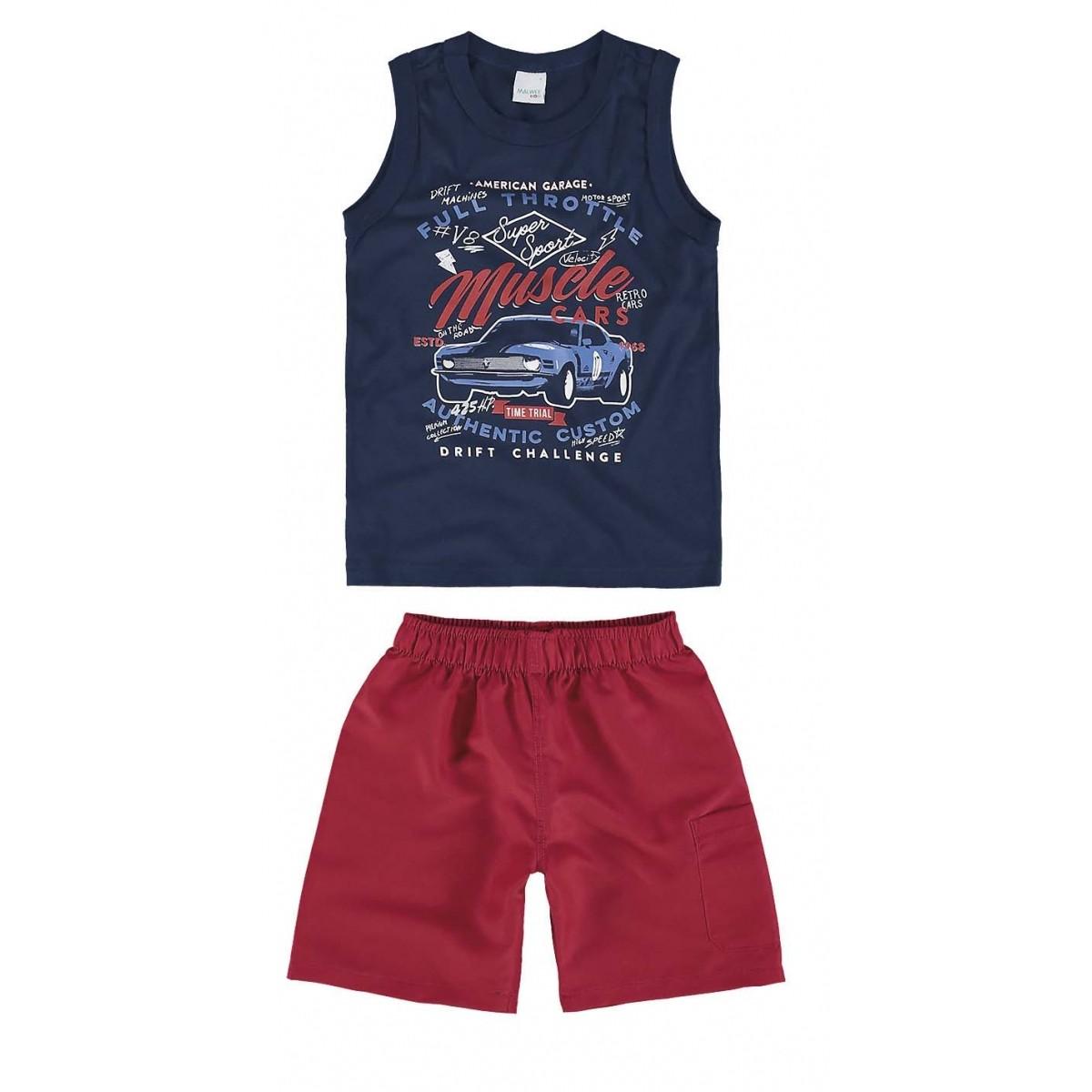 Conjunto Infantil Masculino Azul Marinho Muscle Cars Malwee