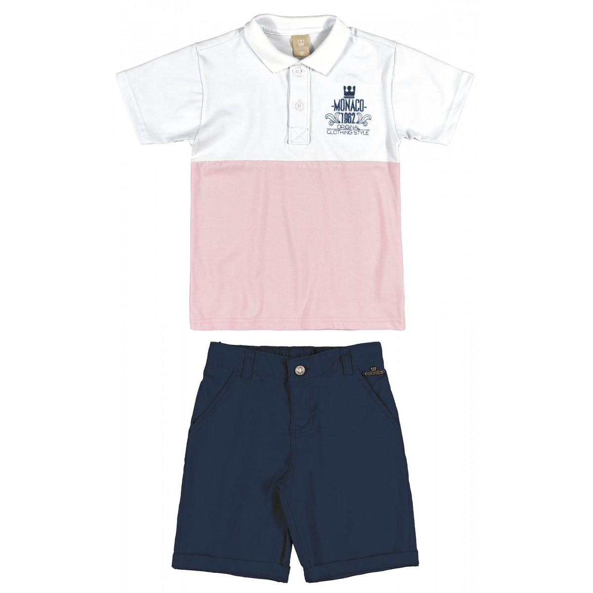 16967c7edc Conjunto Infantil Masculino Rosa Monaco Colorittá