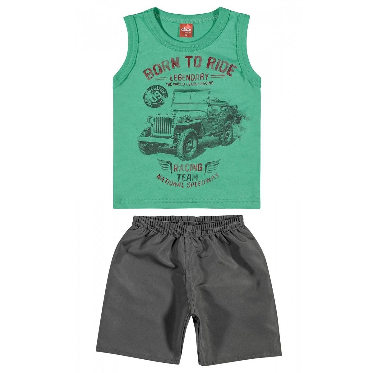 Conjunto Masculino Infantil Verde Born to Ride Elian