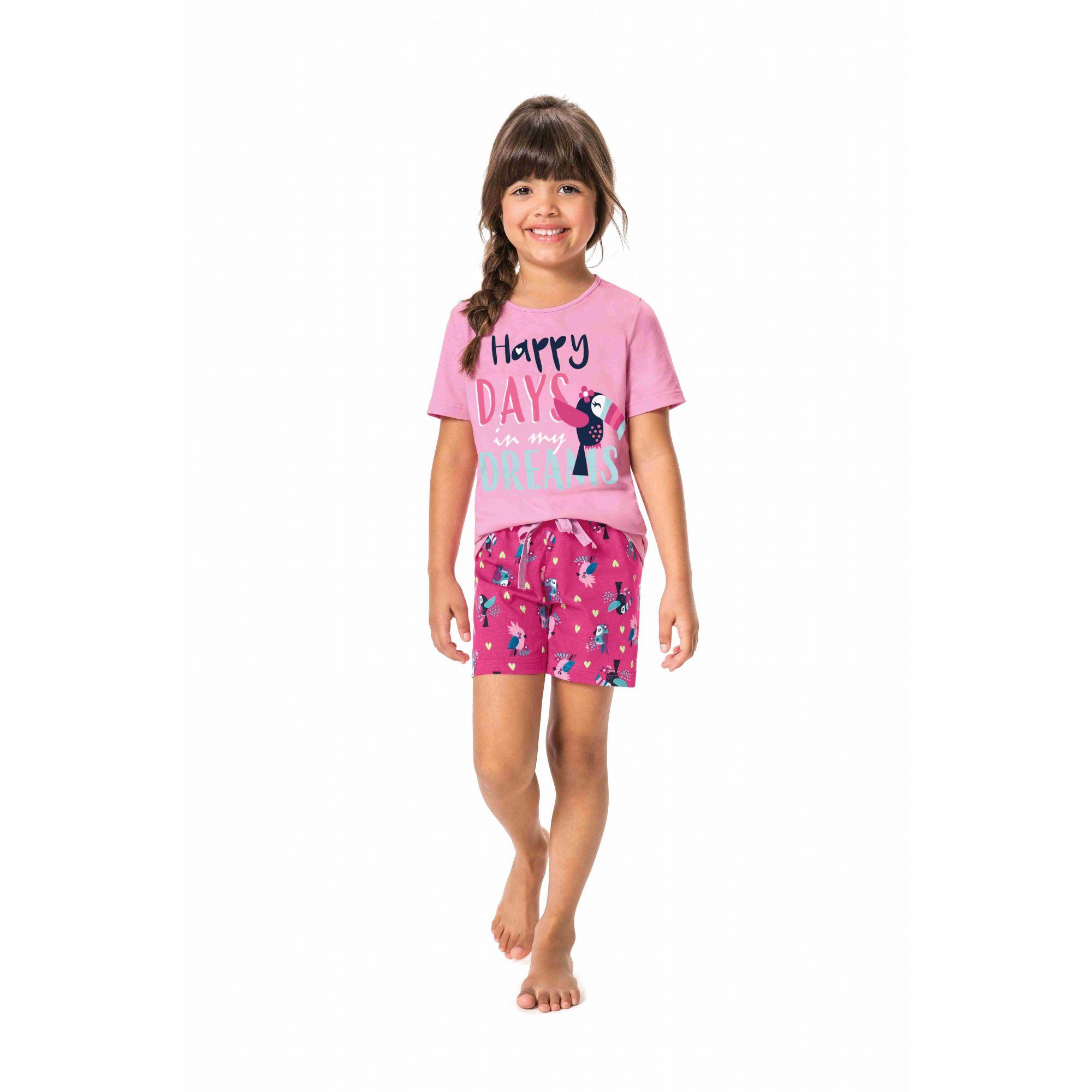 Pijama Infantil Feminino Rosa Tucano Brilha no Escuro Malwee