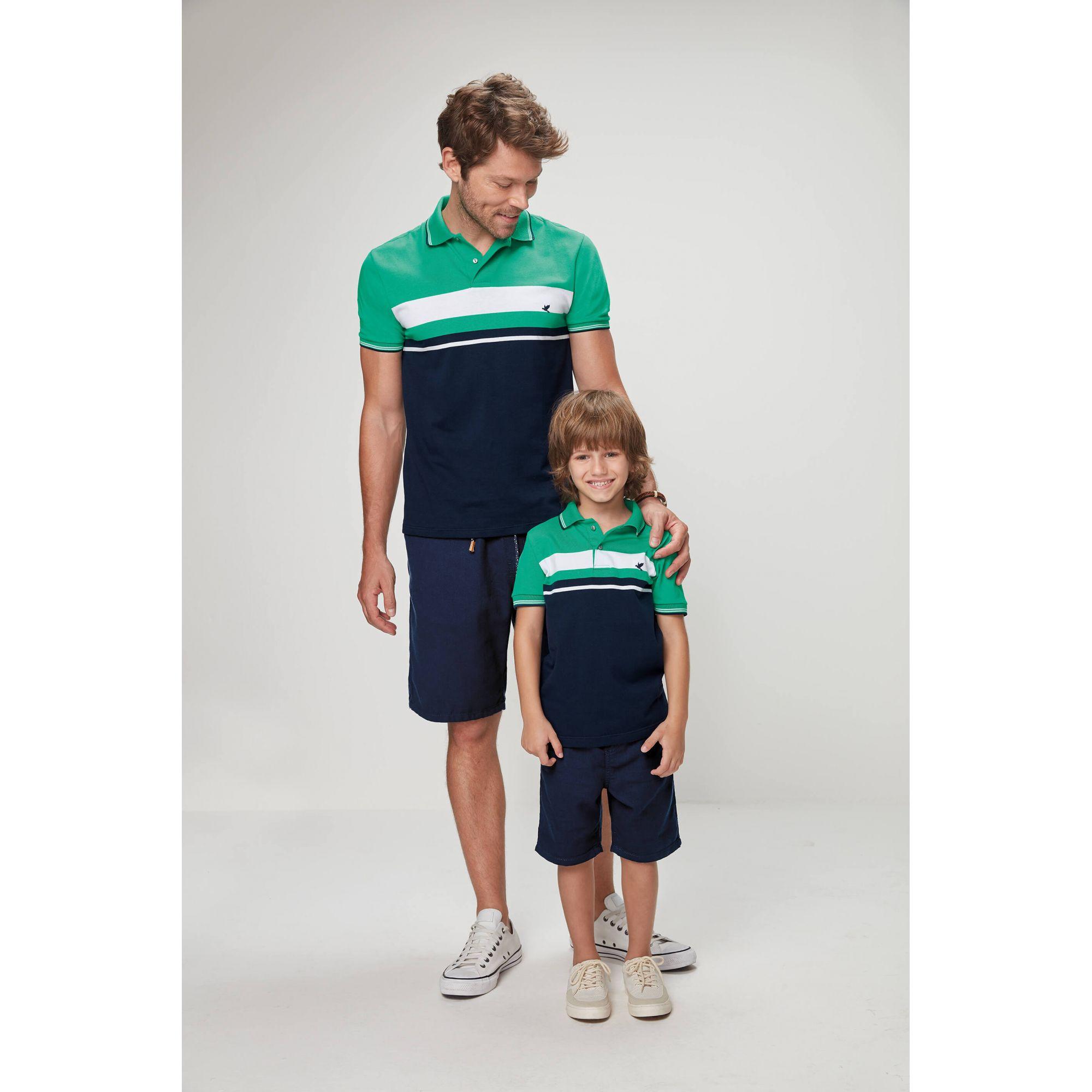 fc03cb7707 ... Polo Masculina Adulto Verde Pai e Filho Listras Malwee ...