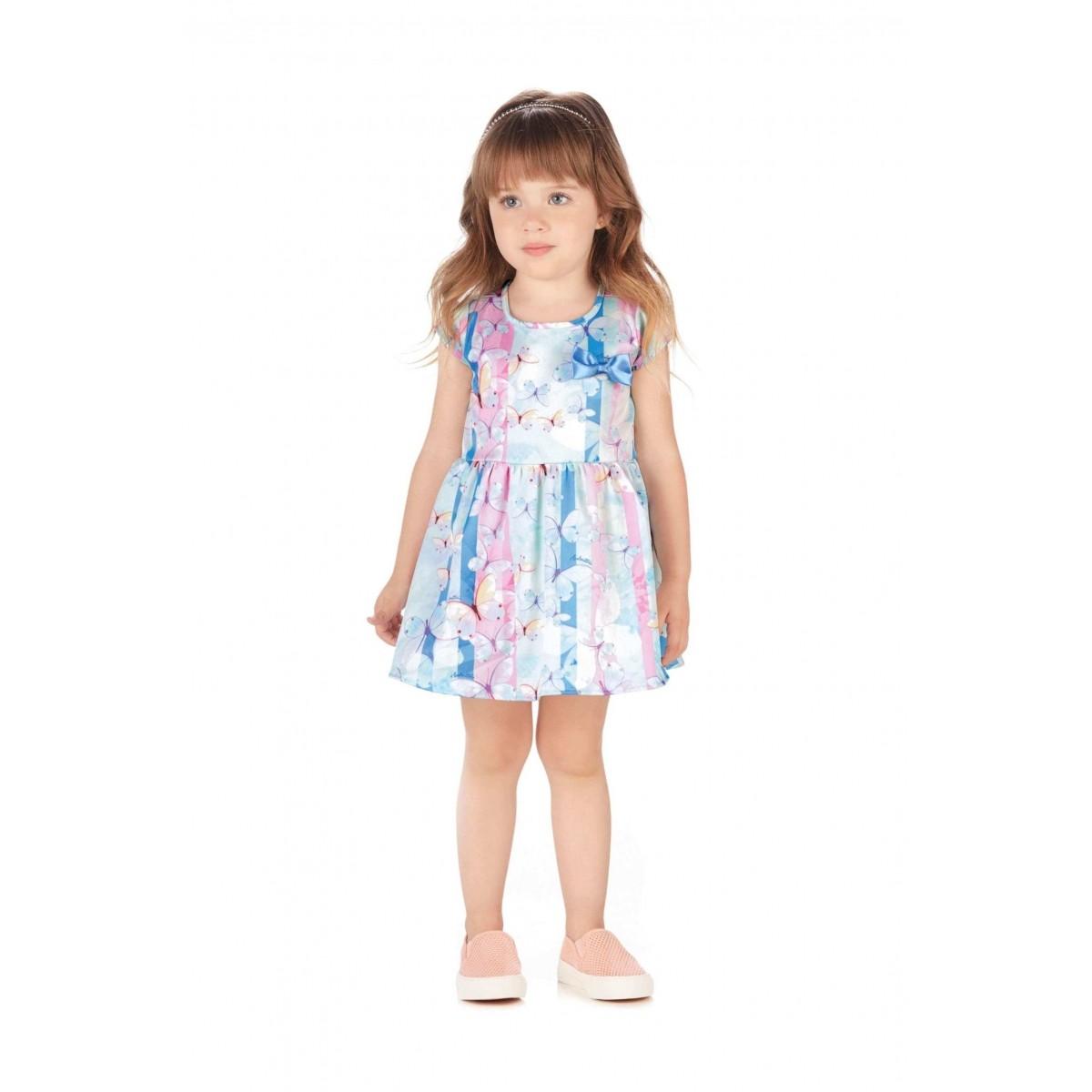 Vestido Infantil Azul Borboletas Colorittá · Vestido Infantil Azul  Borboletas Colorittá 404816f6dfa86