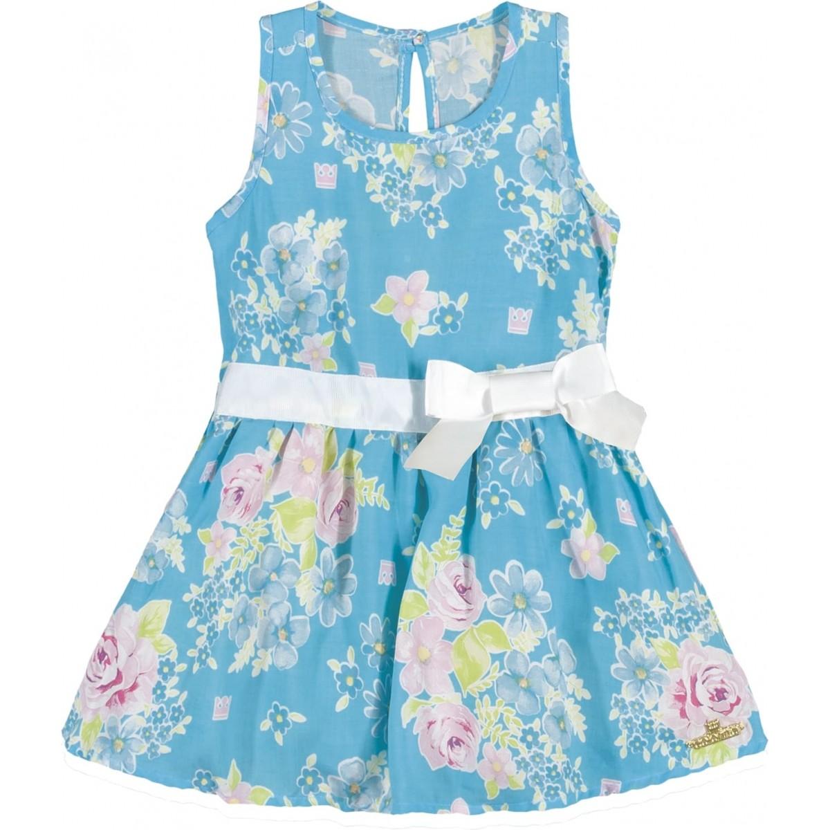 Vestido Infantil Feminino Azul Verão Colorittá  46b0c517d8535