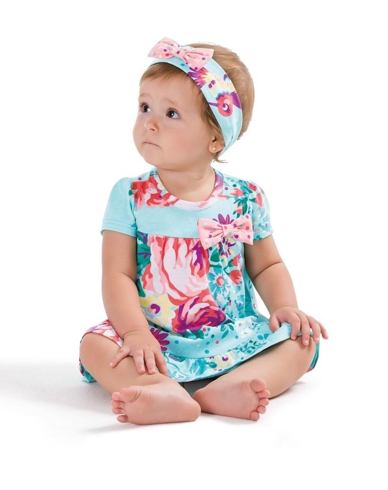Vestido Infantil Azul Flores e Faixa Zig Zig Zaa