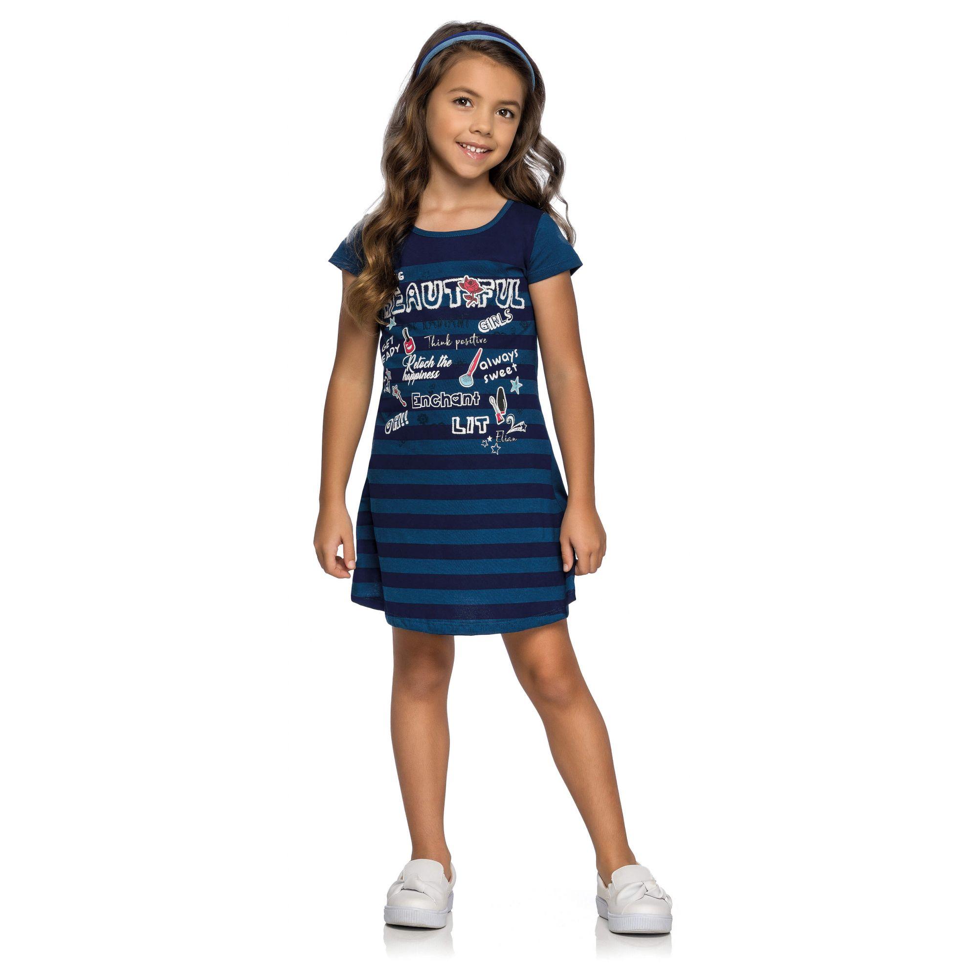 Vestido Infantil Marinho Hashtag Elian