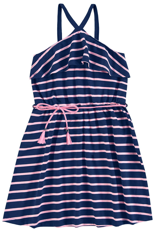 f74c6c6a0e Vestido Infantil Feminino Azul Marinho Verão Kyly