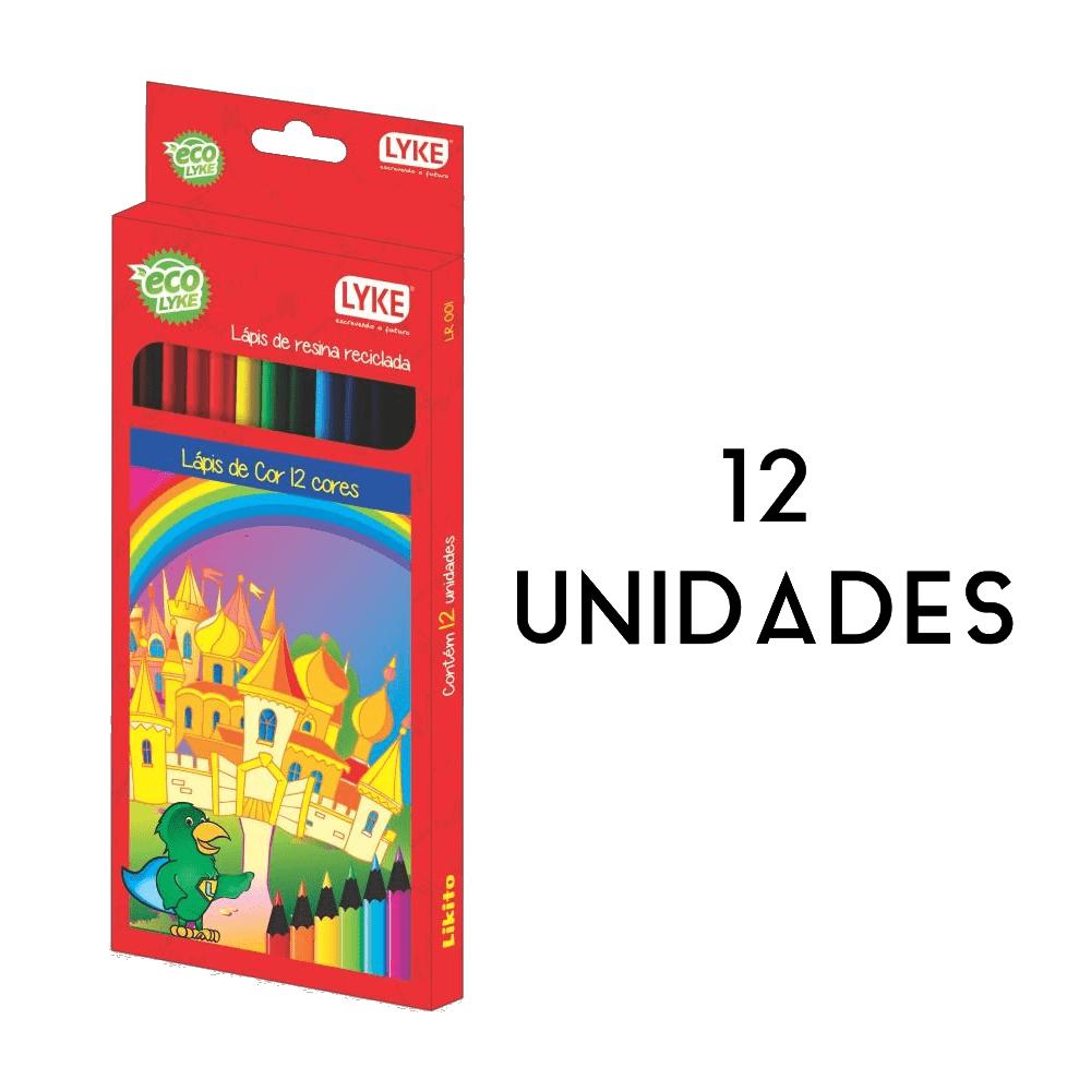 12 Unidades Lápis de Cor Resina Plástica 12 Cores Likito