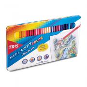 3 Caixas de Lápis de Cor Mega Soft Color 72 Cores Estojo Metálico Tris