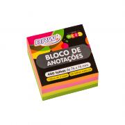 Bloco de Anotações Neon 76 x 76mm Colorido BRW